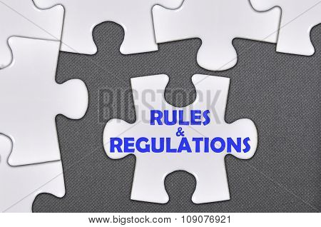 The White Jigsaw Puzzle Written Word Rules & Regulations