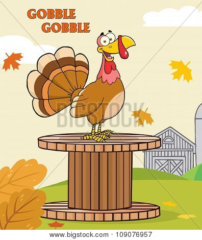 Turkey Bird Character On A Giant Spool In A Barnyard