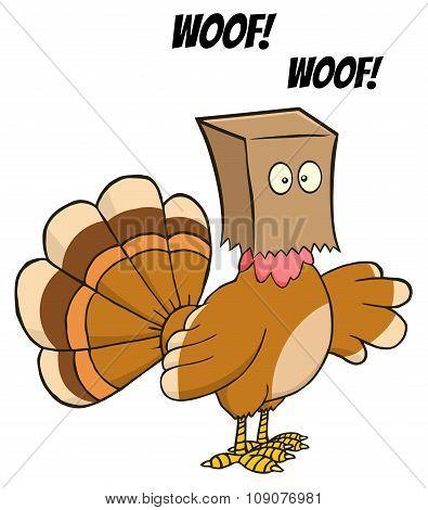 Turkey Bird Character Hiding Under A Bag Barks