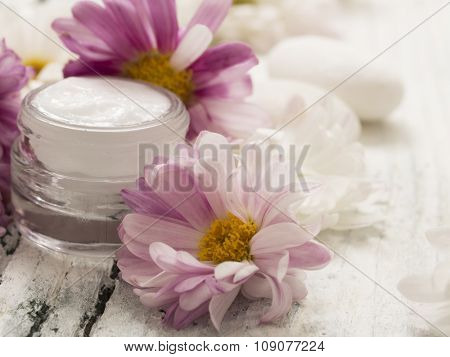 natural facial cream with fresh flowers