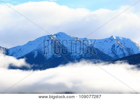 Snow Mountain Peak Over Te Anau Lake Fiordland National Park South Island New Zealand Natural Travel