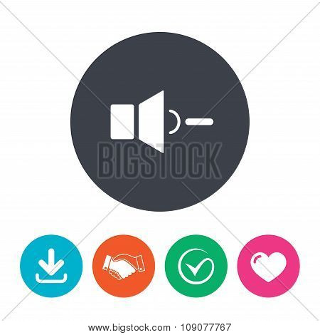 Speaker low volume sign icon. Sound symbol.