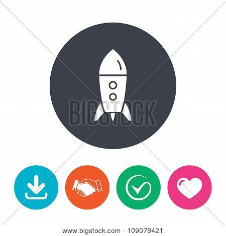Start up icon. Startup business rocket sign.