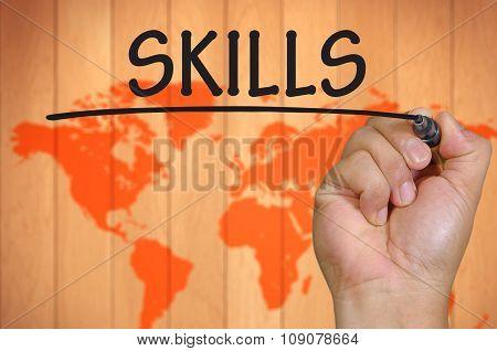 Hand Writing Skills Over Blur World Background