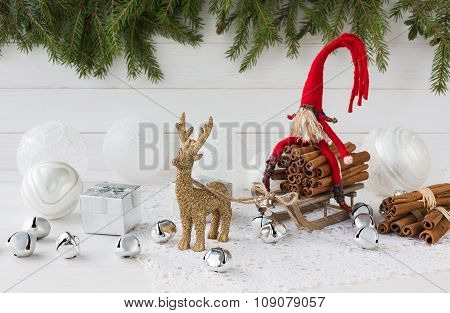 Christmas Composition With Gift Box, Christmas Fir Tree, Gnome And Deer. New Year