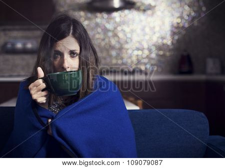 Sick Woman with Hot Drink. Headache. Flu. Woman. Caught Cold. Virus