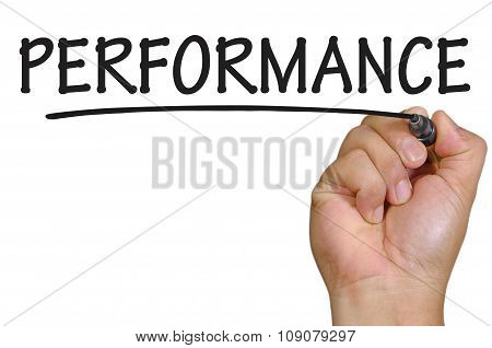 Hand Writing Performance Over Plain White Background