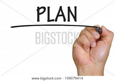 Hand Writing Plan  Over Plain White Background