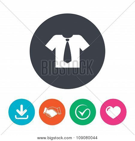 Shirt with tie sign icon. Clothes symbol.