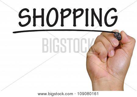 Hand Writing Shopping Over Plain White Background