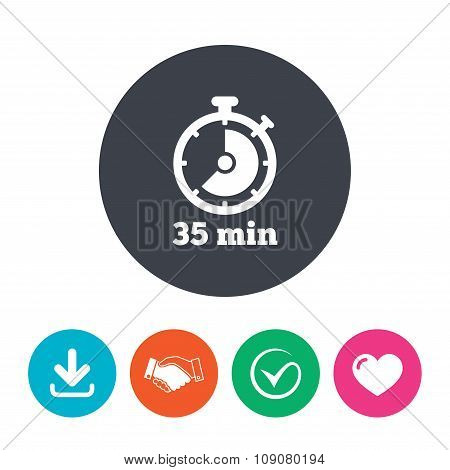 Timer sign icon. 35 minutes stopwatch symbol.