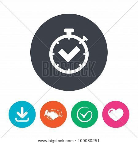 Timer sign icon. Check stopwatch symbol.