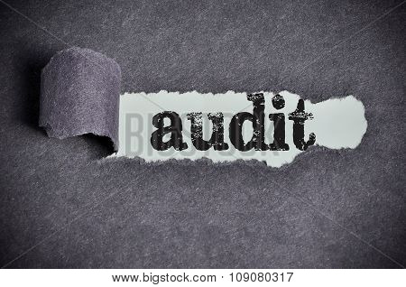 Audit Word Under Torn Black Sugar Paper