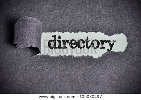 Directory Word Under Torn Black Sugar Paper