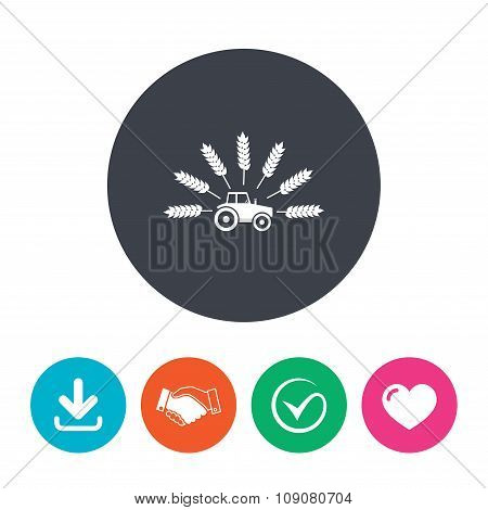 Tractor sign icon. Agricultural industry symbol.