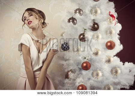 Enraptured Girl In Christmas Time