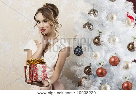 Fashion Woman In Christmas Ambient