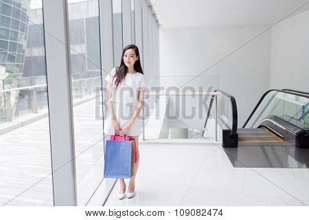 Chinese Asian Shopper Smiling Happy