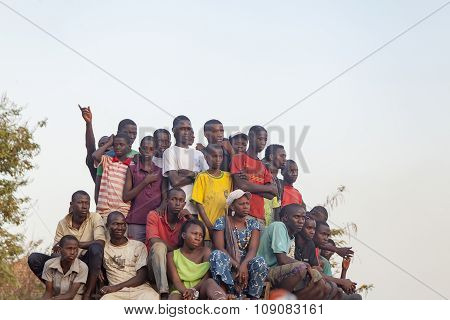 African Crowd Watching A Soccer Game