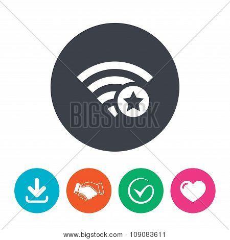 Wifi star sign. Favorite Wi-fi symbol. Wireless.