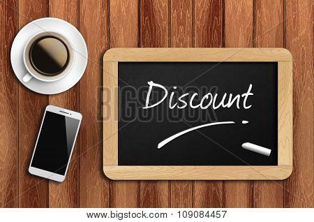 Coffee, Phone  And Chalkboard With  Word Discount