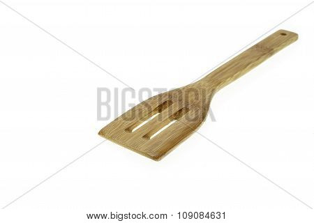 Close Up Cooking Wooden Spatula Isolated On White