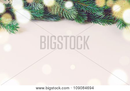 christmas fir tree on white surface, view from above