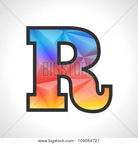 Vector Geometric Gradient Design Triangular Polygonal Font. Children style Letter R