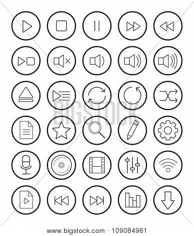 Multimedia linear icons set