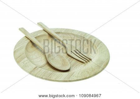 Empty Flat Wooden Dish, Fork And Spoon Isolated On White Background