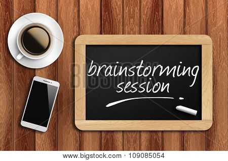 Coffee, Phone  And Chalkboard With  Word Brainstorming Session