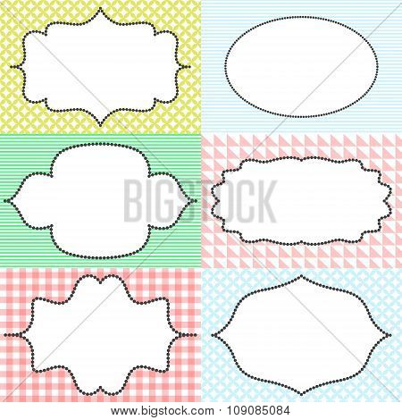 Frame sticker label tags. Card template blanks for signature.
