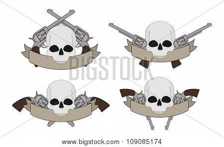Wild west two revolver pistols frame. Color. Contour lines