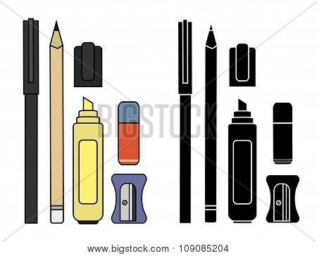 Stationery writing tools set. Color. Silhouette