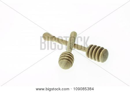 Wooden Honey Drizzler Isolated On White Background