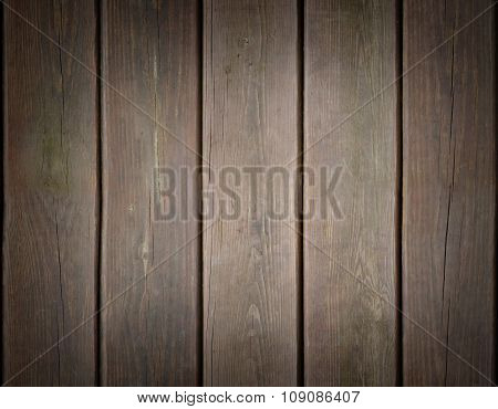 Weathered Wooden Plank Background With Dark Edges