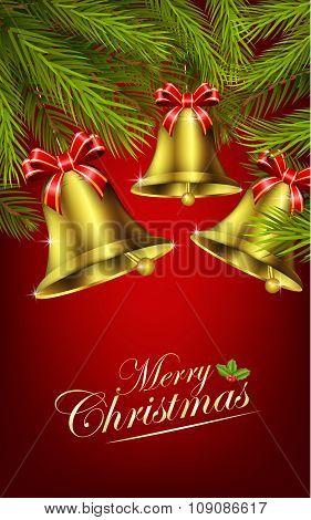 Christmas bells with christmas tree on the red background