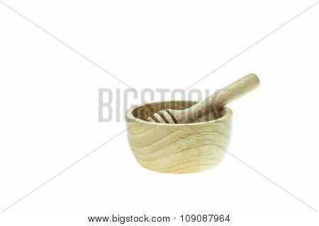 Wooden Honey Drizzler And Bowl Isolated On White Background