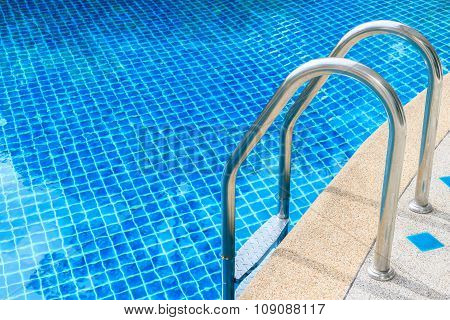 Outdoor Swimming Pool With Stainless Steel Stair