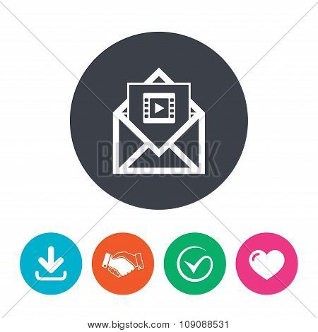Video mail icon. Video frame symbol. Message.