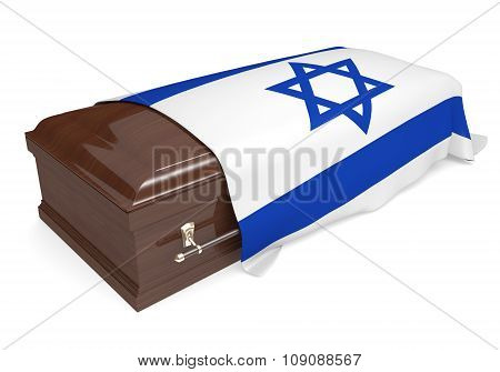 Coffin covered with the national flag of Israel