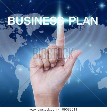 hand pressing business plan sign button. business concept