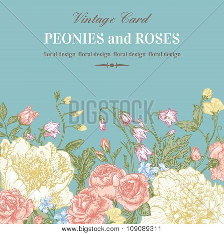 Floral Border With Summer Flowers.