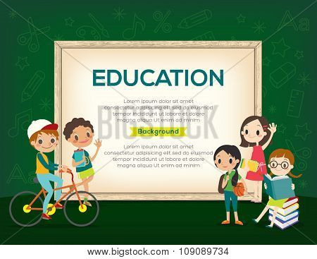 Happy Group Of Kids Education Background Template