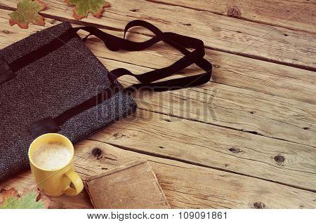 Women's Woolen Bag With A Cup Of Latte