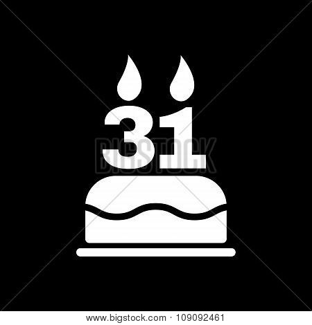 The birthday cake with candles in the form of number 31 icon. Birthday symbol. Flat