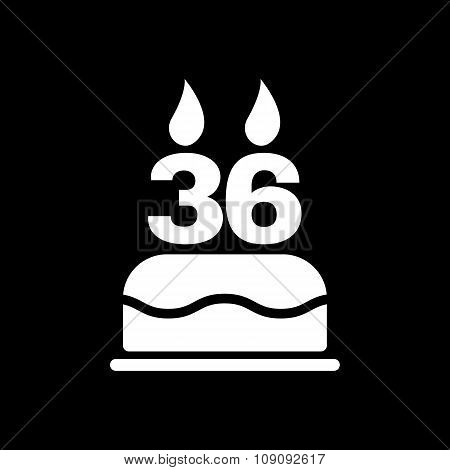 The birthday cake with candles in the form of number 36 icon. Birthday symbol. Flat