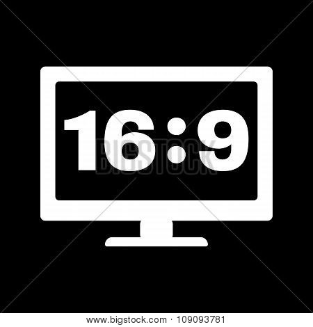 The aspect ratio 16 9 widescreen  icon. Tv and video symbol