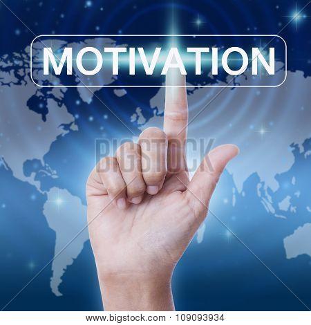 hand pressing motivation word button.