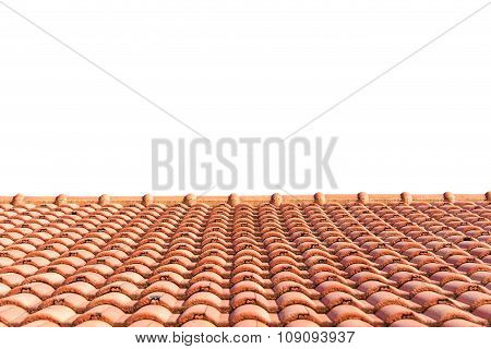 Red Tiles Roof Isolated On White